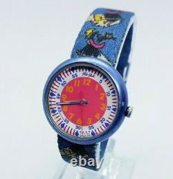 1997 Vintage Witch Broom Halloween Flik Flak by Swatch Watch, 90s Rare Watches