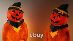 2 Vintage Empire 34 Scarecrow Pumpkin Head Halloween Blow Mold Set Rare Yard