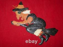 3 Vtg Halloween German Diecut Embossed BAT WITCH BLACK CAT RARE Antique