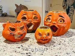 4 Vintage Paper Mache Cat & Pumpkin Jack O Lantern Original Paint Halloween Rare