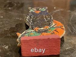 Antique Halloween German Owl & Orange Man In The Moon Rare Skittles Game Piece