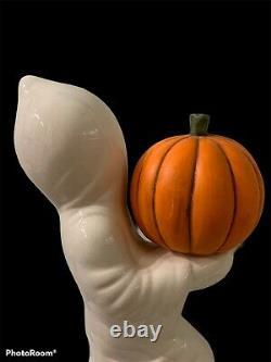 Halloween Vintage Ceramic Ghost with Pumpkin Jack O Lantern 12 Light Up RARE