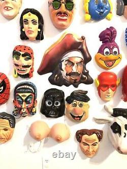 Huge Halloween Mask Wall Lot Collection 50 Plastic Slimer Rare VTG Decoration