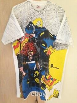 Marvel 1996 Mega Print Vintage Shirt GHOST RIDER SPIRITS OF VENGEANCE Rare NWOT