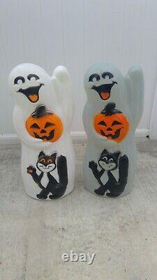 Pair of Vintage Blow Molds Ghost With Pumpkin Black Cat Lighted Rare 34 Figures