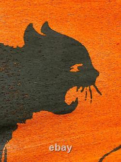 RARE Antique Halloween Crepe Paper Banner Black Cat & Moon dennisons