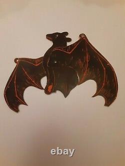 RARE Old Vintage Halloween Mechanical Bat Cardboard Diecut Die Cut Beistle 1920s