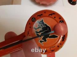 RARE Smaller Old Vintage Halloween Tin Noisemaker Black Cat Kirchhof 1930's RARE