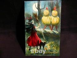 RARE- Vintage Halloween Postcard- Witch -Black Cat & Veggie People-By Valentine