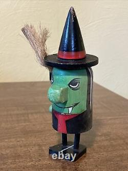 RARE Vintage Halloween Wooden WITCH Pride Creations Popsie-Japan-Art Figure Doll