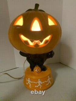 RARE Vintage Light Up Ceramic Halloween Jack-O-Lantern on Black Cat withSkeletons