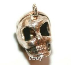 Rare Large Vintage Halloween Skull Opening to Witch Sterling Silver Charm 4.5g