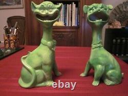 Rare Pr. Antique Grotesque Cat Dog Figurines Halloween Green Gargoyles Vtg Bat