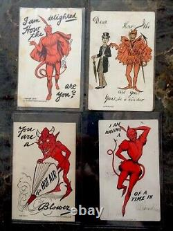 Rare Valentine/halloween Vintage Devil Post Cards 1905-1912 Lot Of 4