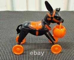 Rare Vintage 1950's Black Rosbro Halloween Hard Plastic Donkey With Pumpkin