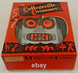 Rare Vintage Collegeville Halloween Costume 1950s ROBOT Electro Mask Outfit MIB
