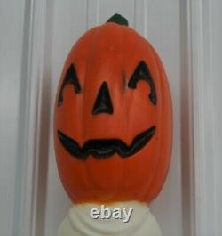 Rare Vintage Drainage Stick Pumpkin Ghost Blow Mold Halloween Boo Light Up