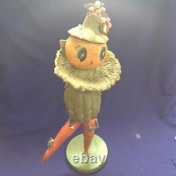 Rare Vintage Folkart Halloween Veggieman Vegetable Man Woman Figure Doll Old