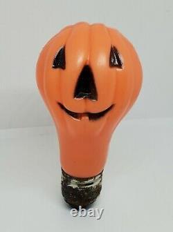 Rare Vintage Halloween Blow Mold Light Bulb Pumpkin Jack-O-Lantern Fun World
