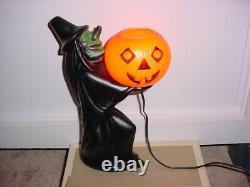 Rare Vintage Halloween Blow Mold Witch Holding light up Pumpkin