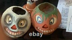 Rare Vintage Halloween Paper Mache Scary Face Pumpkin And Skull Early