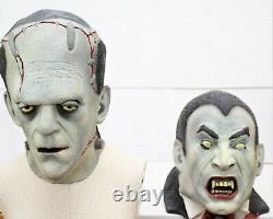 Rare Vintage Illusive Concepts Latex Vampire & Frankenstein Mask Full Head