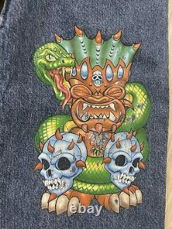 Rare Vintage JNCO Jeans Tiki Head With Skulls and Snakes 30x30