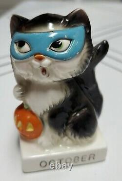 Rare Vintage Norcrest Cat Kitten Figurine OCTOBER Halloween