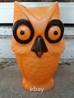 Rare Vintage Orange Halloween Owl Blow Mold 13.5