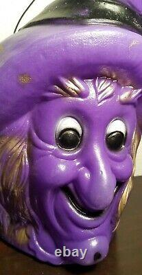 Rare Vintage Plastic Halloween Witch Candy Container Holder Bucket Blow Mold
