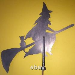 Rare Vintage Witch with Cat Riding Broomstick Original Metal Weathervane