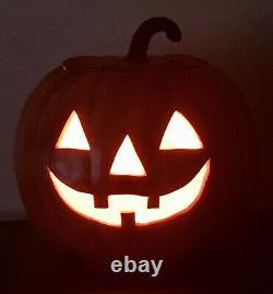 Rare Vtg Holland Molds Large Ceramic Halloween Pumpkin Jack O Lantern Light Ec