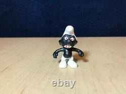 Smurfs 20007 Black Angry Smurf Figure Rare Red Teeth & Eyes Vintage Toy Figurine