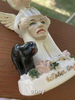 Super Rare Napco Boy Angel Figurine Halloween October Cat Mask Vintage Japan