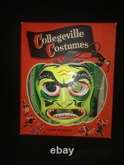 VINTAGE 1970 COLLEGEVILLE Wicked Witch HALLOWEEN COSTUME MASK With BOX Rare