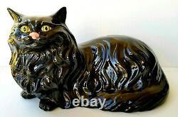 VINTAGE BLACK CAT HALLOWEEN DECORATION Porcelain Ceramic Sculpture Figurine RARE