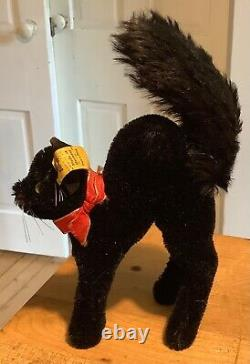 VINTAGE GERMAN RARE STEIFF HALLOWEEN SCAREDY CAT With ALL IDs MINIATURE 5 TALL