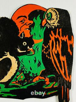VTG 1930's Beistle Halloween Embossed Diecut RARE Squirrel Own Moon Man