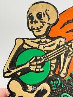 VTG 1930's Beistle Halloween Embossed Diecut Skeletons Moon Saxophone Banjo RARE