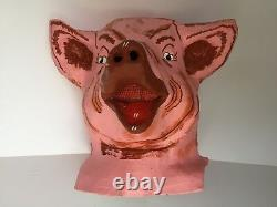 VTG Paper Mache Head Mask Pig 3 Three Little Pigs 1 More Available Antique RARE