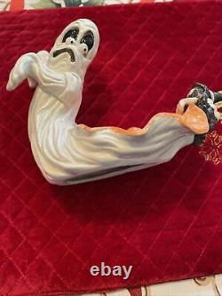 Very Rare Pair Of Vtg Fitz And Floyd Halloween Ghost/witch Spider Candle Holders