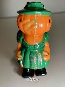 Very Rare Vintage Fun World Halloween Hard Plastic Pumpkin Jol Ramp Walker Toy