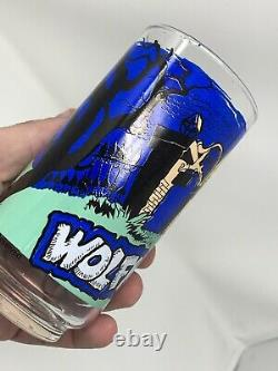 Vintage 1980 Wolfman Universal City Studios Glass Halloween Horror Rare Wolf Man