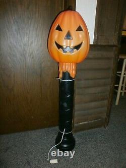 Vintage 1990's Halloween Blow Mold 42 Pumpkin Candlestick RARE