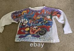 Vintage 1995 Looney Tiny Tunes City Slickers All Over Print Sweat Shirt Xl RARE