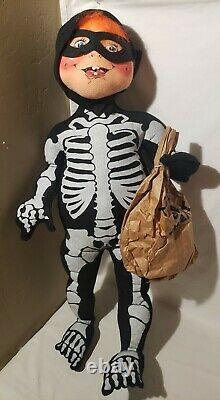 Vintage 1996 30 Skeleton Kid Halloween Doll Rare Orange Hair