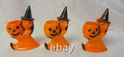 Vintage 3 Witches with Pumpkins Halloween Hard Plastic Candy Container Toys RARE