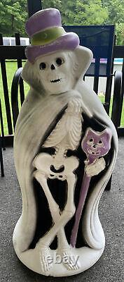 Vintage Blow Mold Rare Halloween 32 Skeleton Cape Cat Cane Hat Ghoul