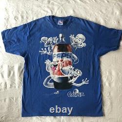 Vintage Casper Pepsi 2 Liter Ghost Halloween Blue 90s Promo Movie TShirt Rare XL