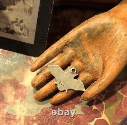 Vintage German Rare 935 Silver Enamel Bat Halloween CHARM Bracelet
